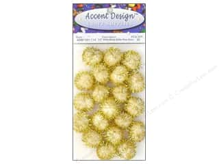 Clearance: PA Essentials Pom Poms 1/2 in. White/Gold Glitter 20 pc.