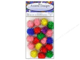 craft & hobbies: PA Essentials Pom Poms 1/2 in. Multi Glitter 20 pc.