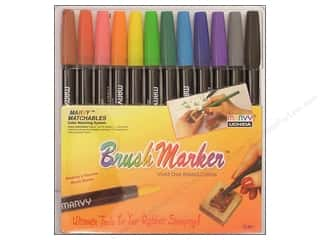 craft & hobbies: Marvy Uchida Brush Art Markers Set 12 pc. Primary