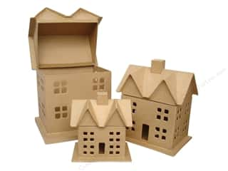 paper mache box: Paper Mache Box House Set of 3 by Craft Pedlars (4 sets)