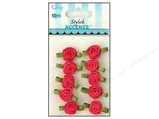 ribbon: Offray Small Satin Ribbon Roses 10 pc. Hot Pink