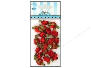ribbon: Offray Small Satin Ribbon Roses 40 pc. Red