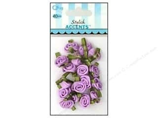 ribbon: Offray Small Satin Ribbon Roses 40 pc. Light Orchid