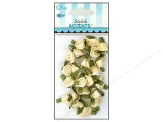 ribbon: Offray Small Satin Ribbon Roses 40 pc. Cream