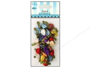 ribbon: Offray Small Satin Ribbon Roses 40 pc. Multi-Color