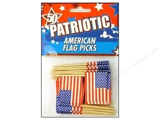 novelties: Fox Run American Flag Party Picks 50pc