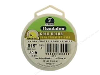beading & jewelry making supplies: Beadalon Bead Wire 7 Strand .015 in. Gold 30 ft.