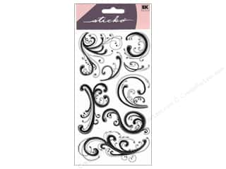 theme stickers: EK Sticko Stickers Dainty Black Flourishes