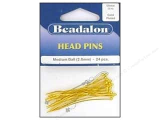 head pin: Beadalon Head Pins Medium Ball 2 in. Gold 24 pc.