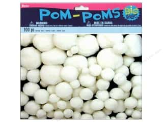 craft & hobbies: Darice Pom Poms Assorted Size White 100 pc.