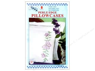 Jack Dempsey Pillowcase Perle Edge White Circle Butterflies