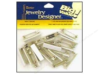 Darice Jewelry Designer Bar Pins with Adhesive Backs 1 in. Nickel 24 pc.