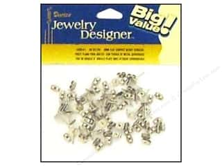 beading & jewelry making supplies: Darice Flat Pad Earring Posts with Butterfly Clutch 48 pc. 6 mm Surgical Steel