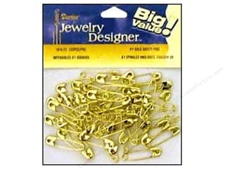 Safety pins: Darice Jewelry Designer Safety Pins #1 Gold 120pc