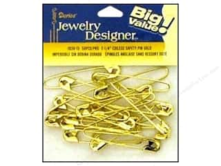 "Coiless : Darice Jewelry Designer Safety Pins Coiless 2 1/4"" Gold 50pc"