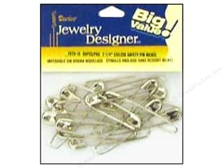 "Coiless : Darice Jewelry Designer Safety Pins Coiless 2 1/4"" Nickel 50pc"