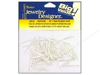 """Pieceful Expressions: Darice Jewelry Designer Head Pins 1"""" Silver 180pc"""