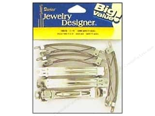 Darice Hair Barrette with Auto Clasp 3 1/8 in. Nickel 12 pc.