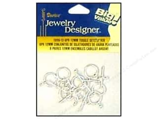 Clasps: Darice Jewelry Designer Clasps Toggle Set 12mm Silver 8pc