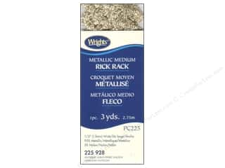 Wrights Rick Rack Medium 2 1/2 yd. Metallic Antique Gold