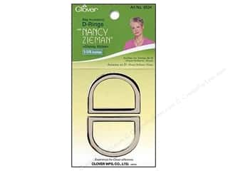 "1 3/16"" D rings: Clover D-Rings with Nancy Zieman 1 1/4 in. Glossy Nickel 2 pc."