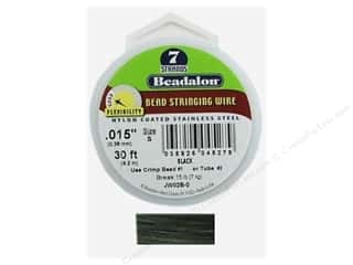 beading & jewelry making supplies: Beadalon Bead Wire 7 Strand .015 in. Black 30 ft.