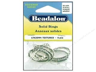 Beadalon Solid Rings 17 x 30 mm Textured Silver 6 pc.