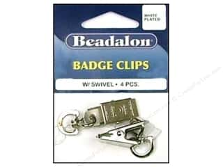 beading & jewelry making supplies: Beadalon Badge Clips with Swivel White Plated 4 pc.