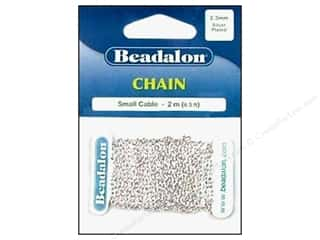 Beading & Jewelry Making Supplies: Beadalon Small Cable Chain 2.3 mm (.091 in.) Silver Plated 2 m (6.56 ft.)