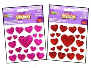 craft & hobbies: Darice Foamies Stickers Glitter Hearts 20 pc. Red/Pink