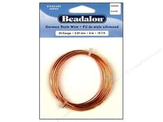 craft & hobbies: Beadalon German Style Wire 20ga Round Copper 19.7 ft.