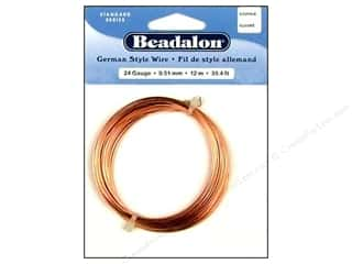 beading & jewelry making supplies: Beadalon German Style Wire 24ga. Round Copper 39.4 ft.