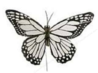 "decorative floral: Midwest Design Butterfly 5"" Feather Wire White/Black 1 pc"