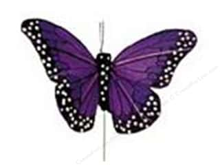 "floral & garden: Midwest Design Butterfly 4"" Feather Wire Purple 1 pc"
