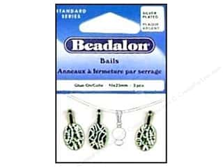 beading & jewelry making supplies: Beadalon Glue On Bail 10 x 23 mm Silver Plated 3 pc.