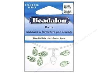 beading & jewelry making supplies: Beadalon Glue On Bail 6 x 11 mm Silver Plated 6 pc.
