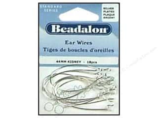Beadalon Ear Wires Kidney 44 mm Silver Plated 18 pc.