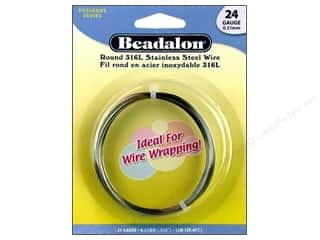 beading & jewelry making supplies: Beadalon Stainless Steel Wire Round 316L 24Ga 39.4 ft.