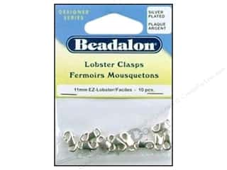 beading & jewelry making supplies: Beadalon Lobster Clasps EZ 11 x 6 mm Silver Plated 10 pc.
