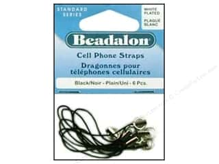 beading & jewelry making supplies: Beadalon Cell Phone Strap Plain White Plated 6 pc.