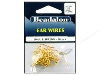 Head Pin: Beadalon Ear Wires Ball & Spring Nickel Free Gold Plated 16 pc.