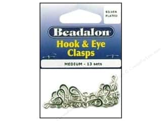 beading & jewelry making supplies: Beadalon Hook & Eye Clasps Medium Silver Plated 13 Sets