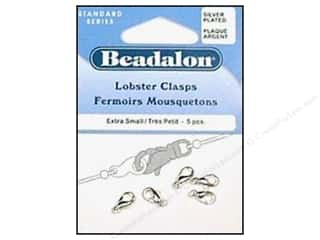 beading & jewelry making supplies: Beadalon Lobster Clasps Small 9.7 mm Silver 5 pc.