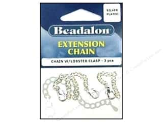 beading & jewelry making supplies: Beadalon Extension Chain with Lobster Clasp 2 in. Sliver 3 pc.
