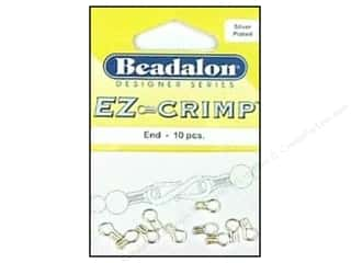 beading & jewelry making supplies: Beadalon EZ-Crimp Ends 10 pc. Silver Plated