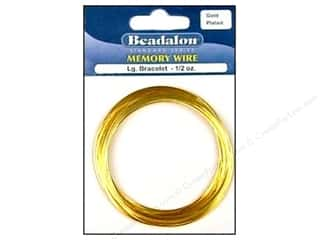 26 ga wire: Beadalon Memory Wire Large Bracelet .5 oz. Gold