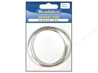 beading & jewelry making supplies: Beadalon Memory Wire Large Bracelet .5 oz. Silver
