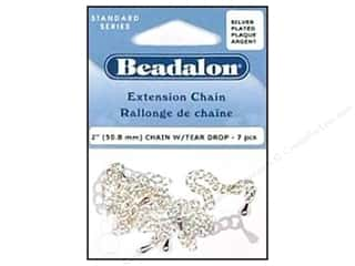 Beadalon Chains: Beadalon Extension Chain with Tear Drop 2 in. Silver 7 pc.