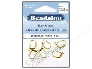 Head Pin: Beadalon Ear Wires Leverback 3 mm Gold Plated 6 pc.