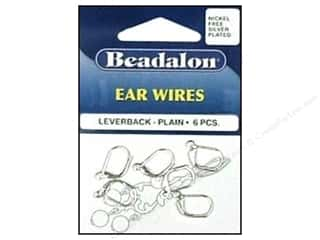 beading & jewelry making supplies: Beadalon Ear Wires Leverback 3 mm Nickel Free Silver Plated 6 pc.